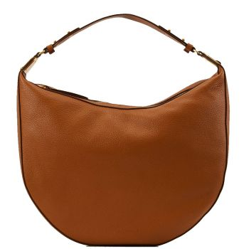 COCCINELLE Anais Line - Caramel Colour Leather Woman Hobo Bag