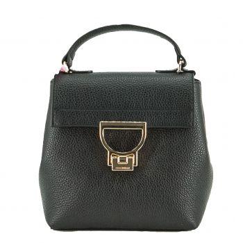 COCCINELLE Arlettis Line – Black Leather Handle Bag with Shoulder Strap