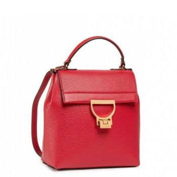 COCCINELLE Arlettis Line – Ruby Leather Backpack with Double Wearability