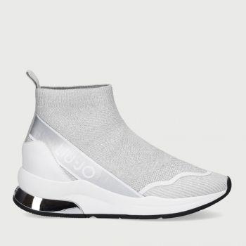 LIU JO Silver Lurex Socks Sneakers