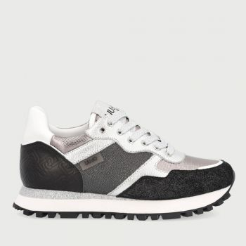 LIU JO Black Running Sneakers with Lamé Details
