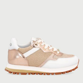 LIU JO Mesh Leather White and Gold Sneakers