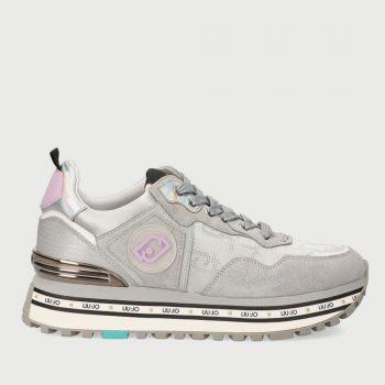 LIU JO Glossy Suede Silver Sneakers