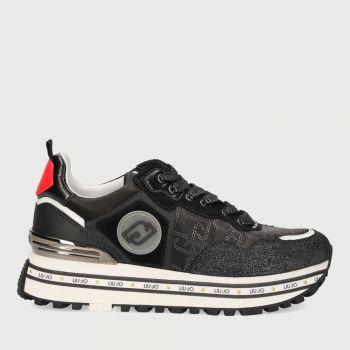 LIU JO Black Glossy Suede Sneakers