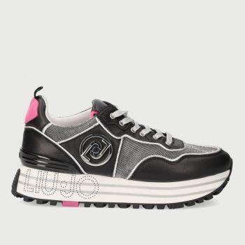LIU JO Black Leather and Silver Mesh Sneakers with Liu Jo Logo