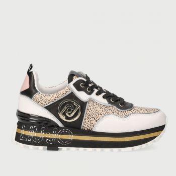 LIU JO Black and White Animal Print Sneakers