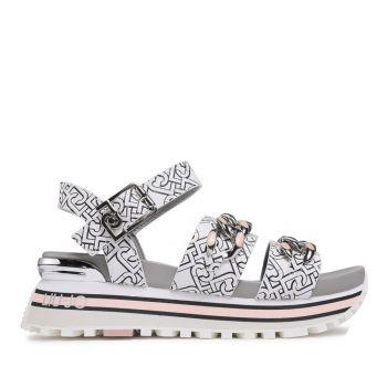 LIU JO White Platform Sandals with Liu Jo Logo and Chain Details