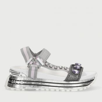 LIU JO Platform Sandals with Strass and Grey Paste