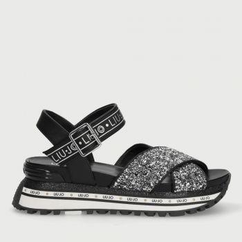LIU JO Black Glitter Platform Sandals with Glitter