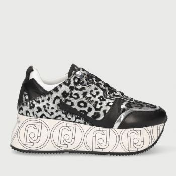 LIU JO Silver Animal Print Maxi Platform Sneakers