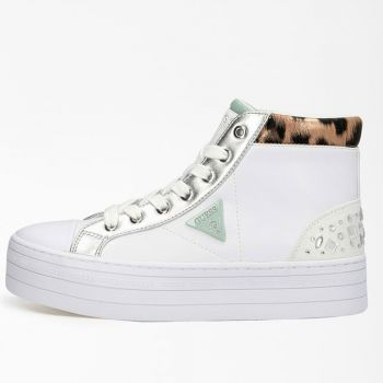 GUESS Bask Line – White Silver Sneakers