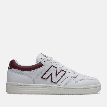 NEW BALANCE 480 Line – White Burgundy Leather Sneakers for Him