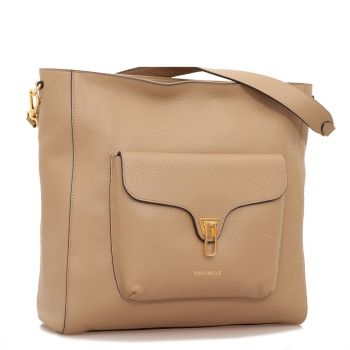 COCCINELLE Beat Line – Taupe Leather Shoulder Bag Made In Italy