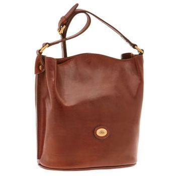 THE BRIDGE Brown Leather Woman Cross-body Bucket Bag Story Line