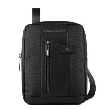 Piquadro Brief Line 2 – Black Fabric and Leather Crossbody for iPad CA1816B2