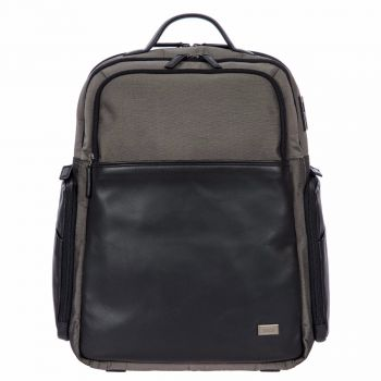 """BRIC'S Grey/Black Leather and Nylon 15,6"""" Laptop Backpack BR207701 Monza L Line"""
