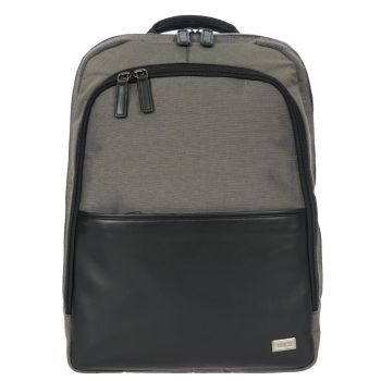 BRIC'S Grey/Black Leather and Nylon Backpack Monza Urban Line BR07714