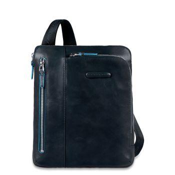 PIQUADRO Blue Square Line – Blue Fabric and Leather Crossbody Pad/iPad®Air CA1816B2