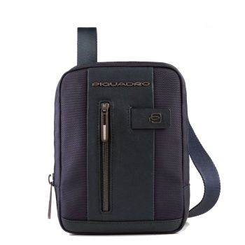 PIQUADRO Brief 2 Line – Blue Fabric and Leather Crossbody With iPad mini Compartment CA3084BR2