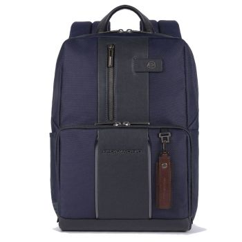 """PIQUADRO Brief 2 Line – Blue Fabric Backpack with 14"""" Pc Compartment  CA3214BRL"""