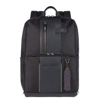 """PIQUADRO Brief 2 Line – Black Fabric Backpack with 14"""" Pc Compartment CA3214BRL"""