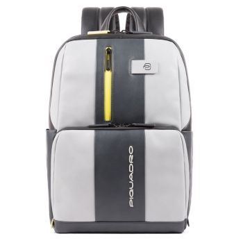 """PIQUADRO Urban Line – Grey and Yellow Leather Backpack with 14"""" pc Compartment CA3214UB00BM"""