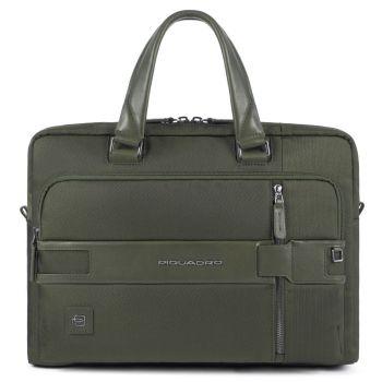 PIQUADRO Tokyo Line – Green Leather and Fabric Portfolio Computer Bag CA3335S107