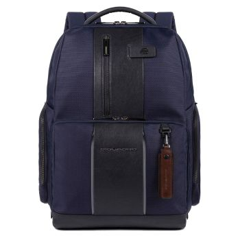 """PIQUADRO Brief 2 Line – Blue Fabric and Leather Backpack with 15,6"""" Pc Compartment CA4532BR2L"""
