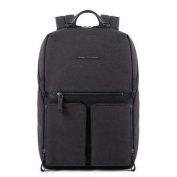 PIQUADRO Tiros Line – Black Leather and Fabric Backpack CA4541W98