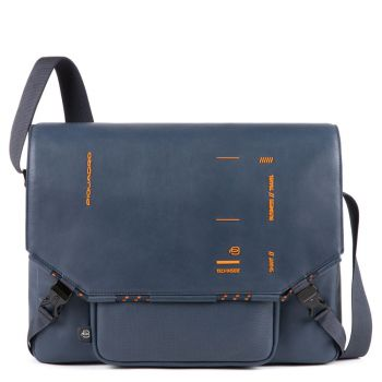 PIQUADRO Blue Leather Tablet Messanger Bag CA4925S106