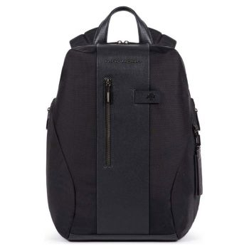 PIQUADRO Brief 2 Line – Black Fabric and Leather Backpack CA5478BR2