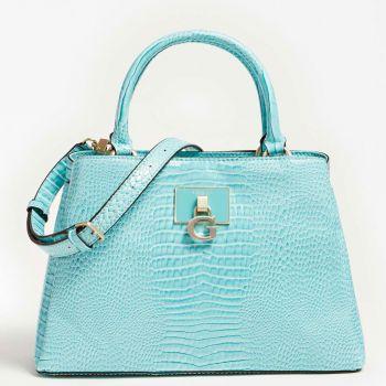 GUESS Carabel Line –  Turquoise Croco Printed Handle Bag