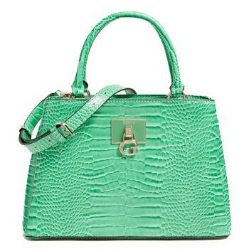 GUESS Carabel Line – Green Croco Printed Handle Bag