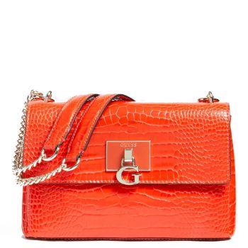 GUESS Carabel Line – Croco Printed Orange Shoulder Bag