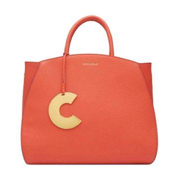 COCCINELLE Concrete Line – Medium Coral Red Handle Bag