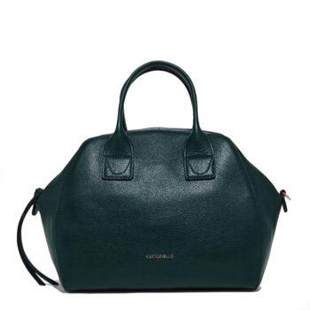 COCCINELLE Ela Journal Line – Medium Mallard Green Handle Bag
