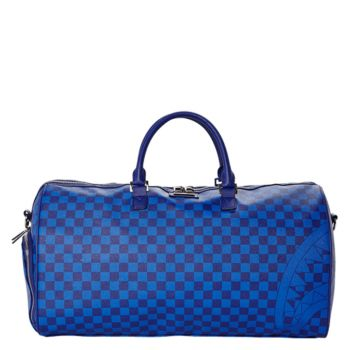 SPRAYGROUND Blue Checkered Shark Duffle Travel Bag