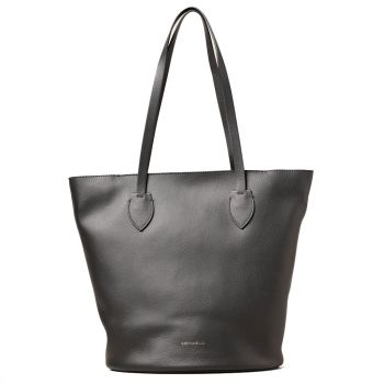 COCCINELLE Diana Line – Ash Grey/Black Leather Tote Bag