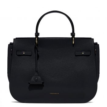 COCCINELLE Didi Line – Maxi Black Leather Shoulder Bag Made in Italy
