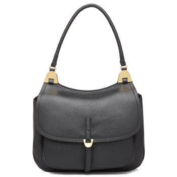 COCCINELLE Fauve Line – Black Leather Shoulder Bag for Her