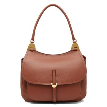 COCCINELLE Fauve Line – Cinnamon Leather Shoulder Bag for Her