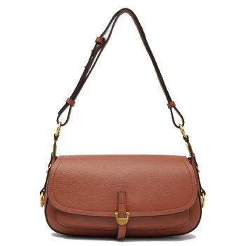 COCCINELLE Fauve Line – Small Cinnamon Leather Shoulder Bag for Her