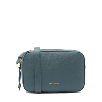 COCCINELLE Lea Line – Small Shark Grey Leather Crossbody Bag