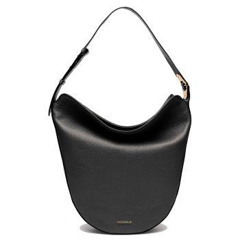 COCCINELLE Josephine Line – Black Leather Hobo Bag for Her E1IAA130201001
