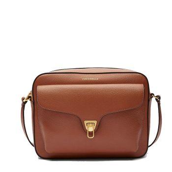 COCCINELLE Beat Soft Line – Medium Cinnamon Leather Crossbody Bag