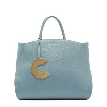 COCCINELLE Concrete Line – Medium Shark Grey Leather Handle Bag