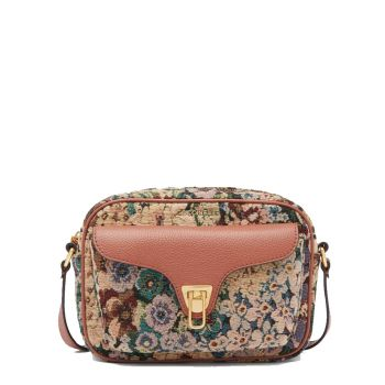 COCCINELLE Beat Soft Tapestry Line – Small Almond Cinnamon Leather Crossbody Bag