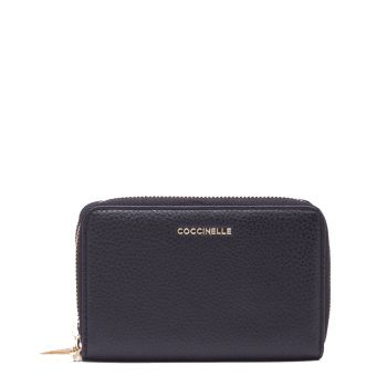COCCINELLE Metallic Soft Line – Small Black Leather Wallet for Her with Two Compartments