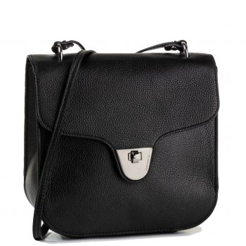 COCCINELLE Florence Line – Black Leather Shoulder Bag Made in Italy