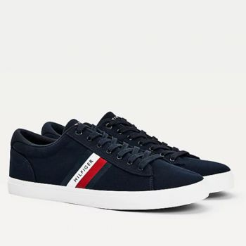 TOMMY HILFIGER Essential Line – Blue Cotton Sneakers For Men